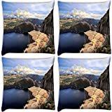 Snoogg Abstract Hill Pack Of 4 Digitally Printed Cushion Cover Pillows 14 X 14 Inch