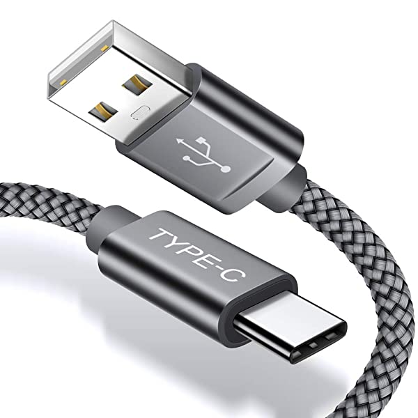 JSAUX USB Type C Cable,(2-Pack 6.6FT)USB-C to USB A Fast Charger Nylon Braided Cord compatible Samsung Galaxy S10 S9 S8 Plus Note 9 8,Moto Z Z2,LG V30 V20 G5 G6,Google Pixel,Nintendo Switch(Grey) (Color: Grey, Tamaño: 6.6ft)