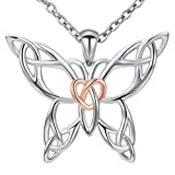 MANBU 925 Sterling Silver Celtic Butterfly Heart Pendant Necklace Jewelry for Girls Women Ladies (Color: sliver)