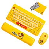 FD Wireless Keyboard and Mouse Combo, FOPATO Yellow Cordless Keyboard-Mouse, Mouse Pad and Hand Rest Set Compatible for PC Laptop and Computer, for Child, Kid, Present for Girl, Girlfriend (Color: Yellow with Mousepad and Hand rest, Tamaño: 79-key Full Set)