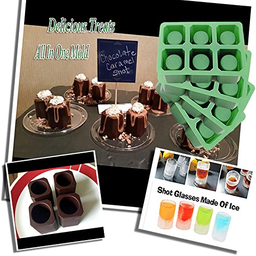 Quadra 4 Sets of 6 Cups Round Square Shape Ice Shot Glass Maker, Chocolate Mold, Jelly Ice Cube Tray. FDA Food Grade Silicone, Stylish Ice Mug Craft Tool in Sets Color: Green by DidaDi (Coffee Maker Remote compare prices)