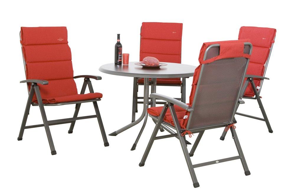 MWH Set Ralo bestehend aus Dessin Dubai Gartentisch eisengrau / grau, 4 Klappsessel Ralo eisengrau, 4 Auflage für Sessel