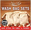 NaturOli Soap Nuts Wash Bags (Set of 3) Large, Extra-heavy-duty, Muslin, Double-Draw. UNPRINTED! No inks to come off in your wash. 100% natural, unbleached materials!