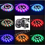 XKTTSUEERCRR (Two Rolls) 3528 SMD 300LED, 10M/32.8 FT, Waterproof Flexible RGB Color Changing LED Light Strip For Outdoors/Indoors/Car/Stage/Festivals/Party Decoration + 20Key Music IR Remote Controller + 12V 5A Power Supply