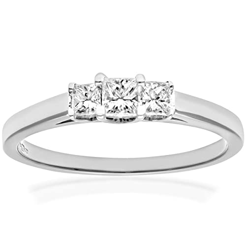 Naava 18ct White Gold Trilogy Ring, J/SI Certified Diamonds, Princess Cut