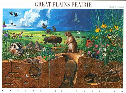 Great Plains Prairie (Nature of America), Full Sheet of 10 x 34-Cent Postage Stamps, USA 2001, Scott 3506 - 1