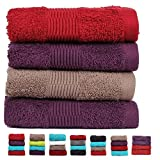 Casa Basics 450 GSM Premium Quick Dry 4 Pcs Hand Towels Set- Red,Purple & Brown...