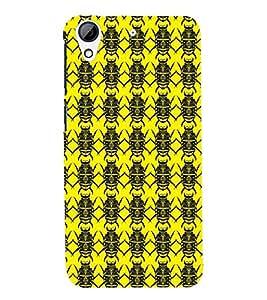 Printvisa Premium Back Cover Yellow And Black Beetle Pattern Design For HTC Desire 728g Dual::HTC Desire 728G::HTC Desire 728