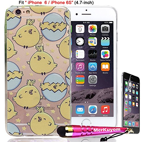 iPhone 6S Case, iPhone 6 Case Protector, MerKuyom [Clear Transparent] [Smile Chicken Eggs] [Flexible Gel] Soft Rubber Durable TPU Case Skin Cover For Apple iPhone 6S / iPhone 6 [4.7-inch],W/ (Chicken Egg Bag)