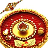 Enticing Red & Yellow Hues Rakhi Pooja Thali With 1 Charming Rakhi
