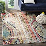 "Safavieh Monaco Collection MNC222F Modern Bohemian Erased Weave Multicolored Area Rug (5'1"" x 7'7"")"