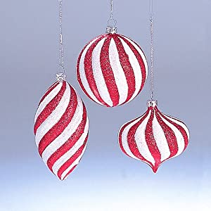 peppermint twist red and white glitter striped ball