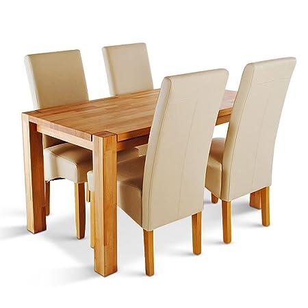 SAM® Esszimmer Esstisch, Tischgruppe Okay 5 teilig in creme, Tisch mit Schublade, aus massiver Wildeiche, Sitzgruppe bestehend aus 1 x Tisch Okay in 140 x 70 cm und 4 x Stuhl Bozen in creme
