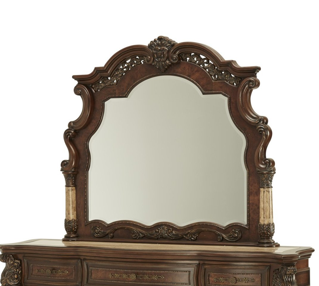 AICO Victoria Palace 4 PC Canopy Bedroom Set with King Bed, Nightstand, Dresser and Mirror