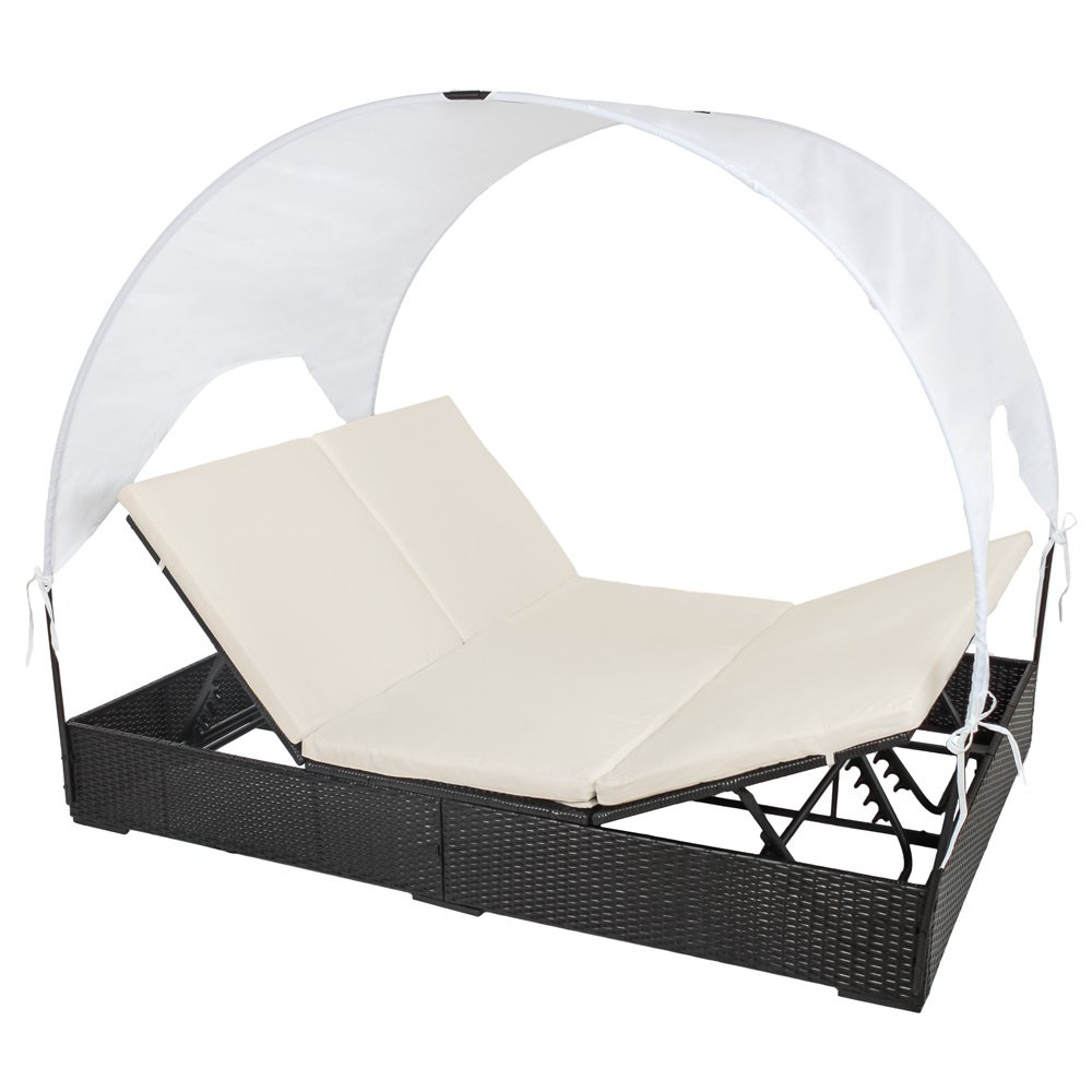 tectake sonnenliege poly rattan gartenliege loungeliege gartenlounge doppelliege sonneninsel. Black Bedroom Furniture Sets. Home Design Ideas