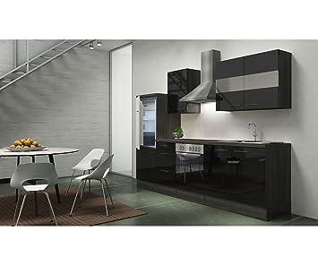 Bloque de cocina respekta 270 cm roble gris negro