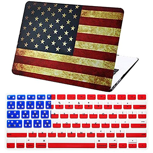 2 in 1 Soft-touch American/US Flag Pattern Hard Shell Cover + USA Keyboard Cover for MacBook Air 13