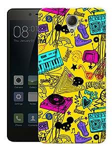 "Humor Gang Music Love Dj World Art Printed Designer Mobile Back Cover For ""Xiaomi Redmi Note 2"" (3D, Matte, Premium Quality Snap On Case)"