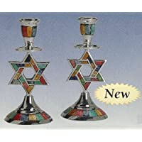 Decorative Candle Holder Aluminum with Decorative Inlay