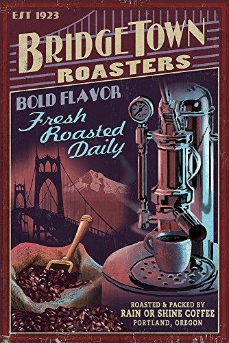 Coffee Roasters Vintage Sign - Portland, Oregon (16X24 Giclee Print)