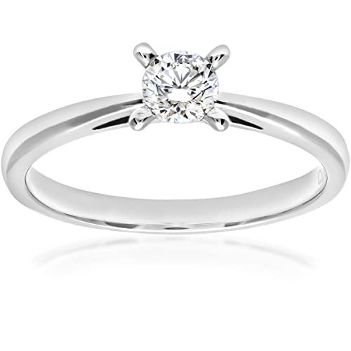 Naava 18ct White Gold V Prong Set Engagement Ring, H/VS1 EGL Certified Diamond, Round Brilliant, 0.33ct