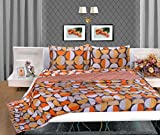 Bellagio Elegance Cotton 1 Double Bed Sheet & 2 Pillow Covers (Black and Orange)