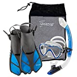 Seavenger Adult Diving Snorkel Set- Dry Top Snorkel / Trek Fin / Single Len Mask / Gear Bag- Blue/red/yellow/black/bs (Gray/Clear Blue, L/XL - Size 9 to 13)