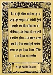 A4 Size Parchment Poster Quotation Ralph Waldo Emerson Succeeded