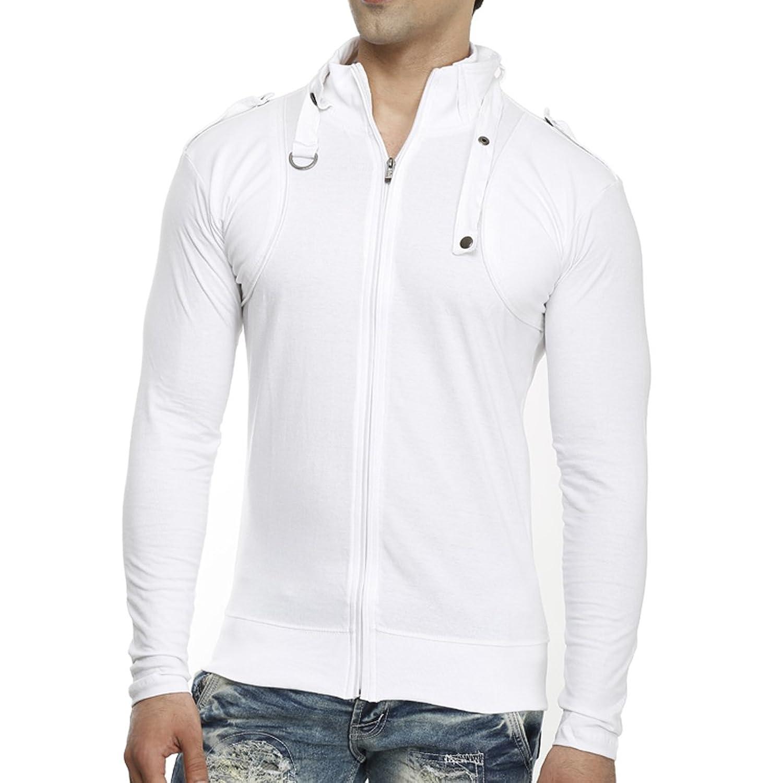 T shirt white colour - Tees Collection Men S Full Zip Buckle Neck Full Sleeve White Colour T Shirt