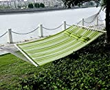 Outsunny  Double Wide Outdoor Patio Cotton Hammock Swing Bed with Pillow,  74 x 55-Inch,  Green