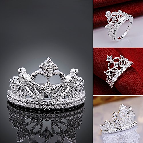 925 Sterling Silver Princess Crown Ring with Cubic Zirconia Inlaid Fashion Jewelry Engagement Wedding Ring for Women