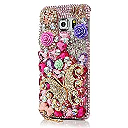 Samsung Galaxy S6 Edge Plus Bling Case - Fairy Art Luxury 3D Sparkle Series Butterfly Snow Rose Flowers Floral Crystal Design Back Cover with Soft Wallet Purse Red Cloth Pouch - Pink
