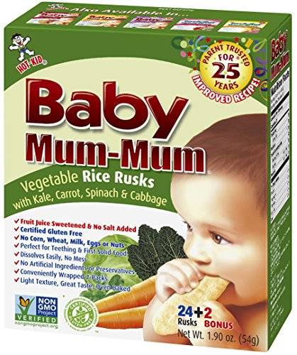 Baby Mum-Mum Rice Rusks, 24 + 2 Pieces, Vegetable (Pack of 6) (Mum Baby Food compare prices)