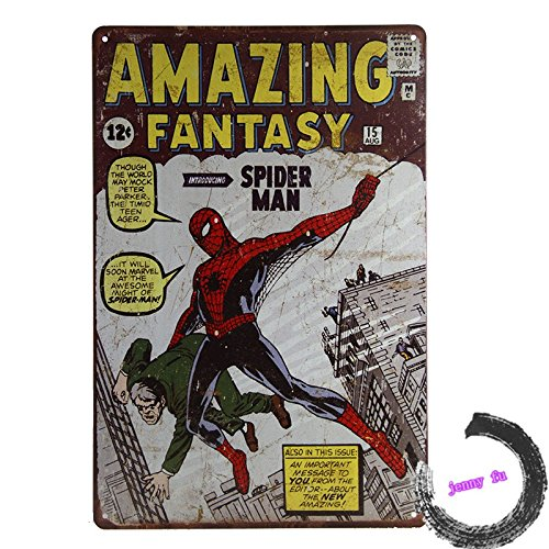 WILD-Amazing Fantasy Spiderman Tin Sign Bar pub home Wall Decor Retro Metal Poster