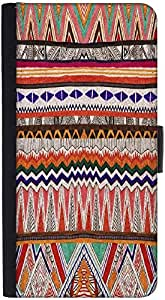 Snoogg Fabric Aztec Graphic Snap On Hard Back Leather + Pc Flip Cover Htc One X