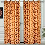 "Story@Home Eyelet Fancy Polyester 2 Pc COMBO Ringtop Eyelet Designer Door Curtains, 7 ft 46 "" X 84 "" Cream"