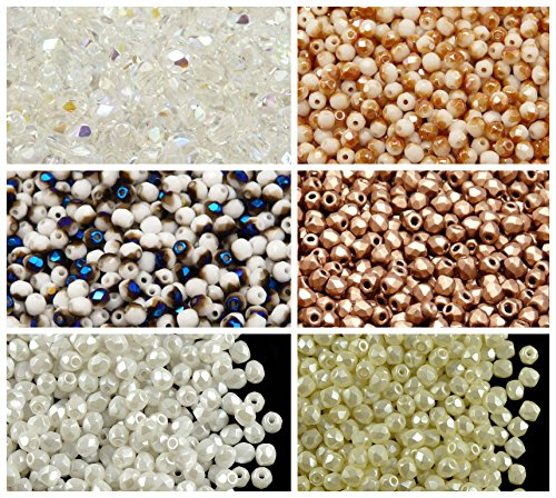 600 beads 6 colors Unique Set 325 Czech Fire-Polished Faceted Glass Beads Round 3 mm, 3FP002 3FP047 3FP048 3FP060 3FP5001 3FP5110
