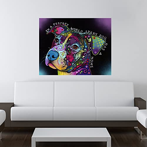 In A Perfect World Dog Wall Sticker Decal - Animal Pop Art by Dean Russo (19w x 15h)