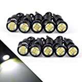 YITAMOTOR 10 x Eagle Eye LED White 23mm 6 SMD High Power 9w Led Bulb Bumper DRL Fog Light Motorcycle Light Daytime Running DRL Tail Backup Light Car Motor Clearance Marker Lights (Color: White, Tamaño: 23mm)