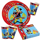 Toy - Feuerwehrmann Sam - Set Party Teller Becher Servietten Partygeschirr