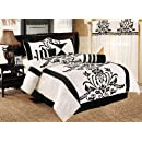 Chezmoi Collection 7 Piece White With Black Floral Flocking Comforter Set Bed In A Bag For Fulldouble Size Bedding 86 By 88 Inch