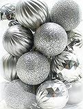 "26 Holiday Time Shatterproof 2-1/4"" Christmas Bulb Ornaments (Silver) [並行輸入品]"