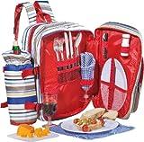 Esmeyer Tramp - Zaino da picnic TRAMP PVC da 18 pezzi, con tasca principale isolata per contenere gli alimenti e portabottiglie regolabile