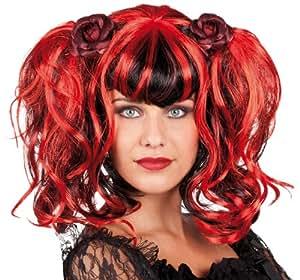 boland 86354 per cke gothic rose rot schwarze haare mit zwei z pfen und zwei rosen amazon. Black Bedroom Furniture Sets. Home Design Ideas