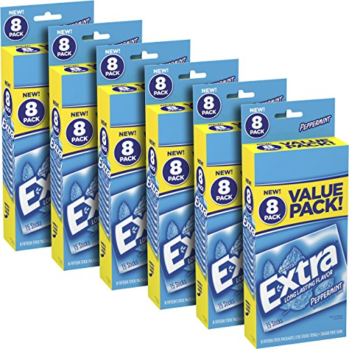 Extra Peppermint Sugarfree Gum, 6 value packs (48 packs total) (Extra Gum Peppermint compare prices)