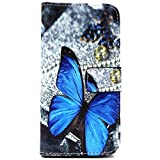 Vogue shop Blue Butterfly Galaxy s6 Edge Case Cover Pineapple Pattern Flip Case Stand Cover with Card Slots