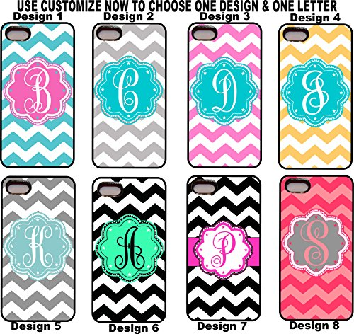 Iphone 4 4s Personalized Chevron Zig Zag Monogram Rubber Phone Case Cover Aluminum Back Group 2 (ONE LETTER ONLY AND CHOOSE ONE FROM 8 DESIGNS) (Personalized Cases For Iphone 4s compare prices)