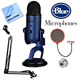 Blue Microphones Yeti Ultimate USB Microphone - Silver (YETI) + Suspension Boom Scissor Arm Stand + Universal Pop Filter Microphone Wind Screen + Mic Stand Adapter + MicroFiber Cloth (Color: Midnight Blue)