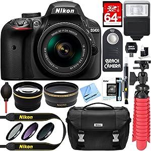 Nikon D3400 24.2 MP DSLR Camera + AF-P DX 18-55mm VR NIKKOR Lens Kit + Accessory Bundle 64GB SDXC Memory + SLR Photo Bag + Wide Angle Lens + 2x Telephoto Lens + Flash + Remote + Tripod+Filters (Black)