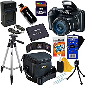Canon Powershot SX400 IS 16.0 MP Digital Camera with 30x Optical Zoom and 720p HD Video (Black) + NB-11L Battery & AC/DC Battery Charger + 9pc Bundle 32GB Deluxe Accessory Kit w/ HeroFiber® Ultra Gentle Cleaning Cloth
